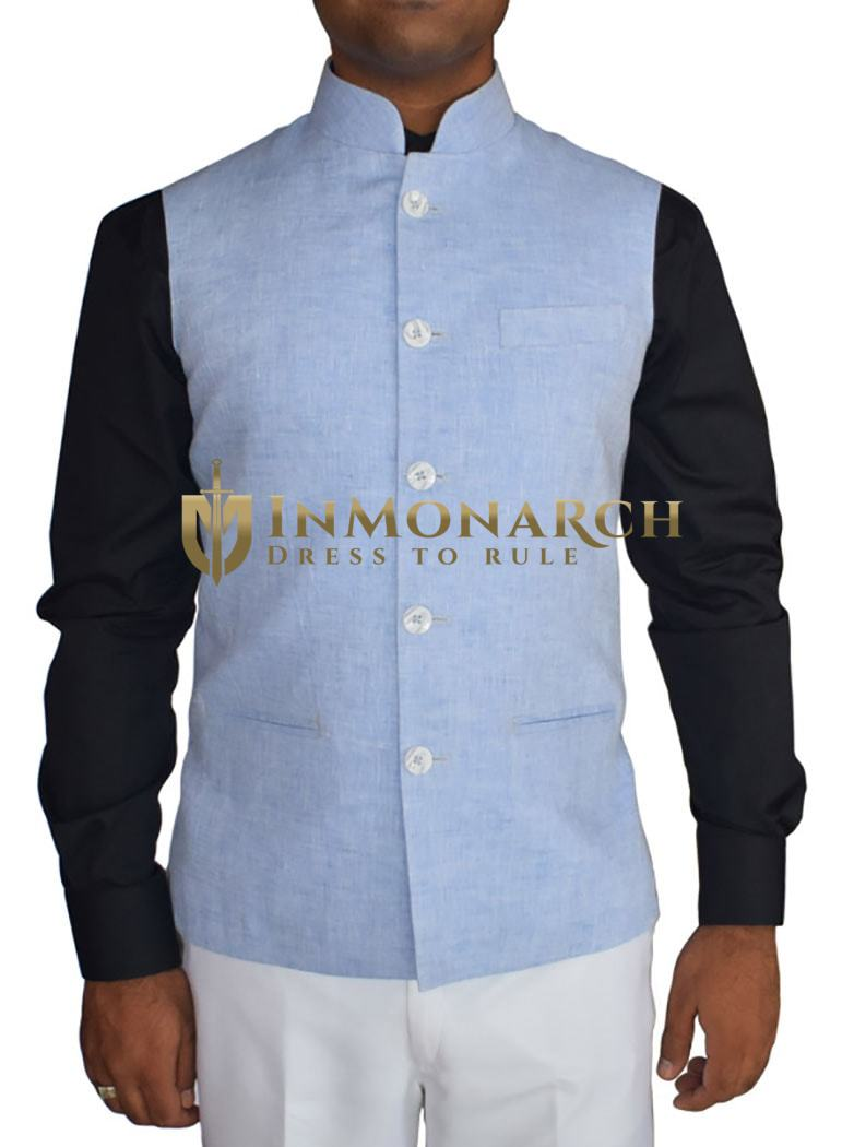Mens Indian jacket Sky Blue Linen Nehru Waistcoat 5 Button