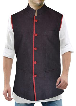 Mens Purple Wine Nehru Jacket Red Trimming