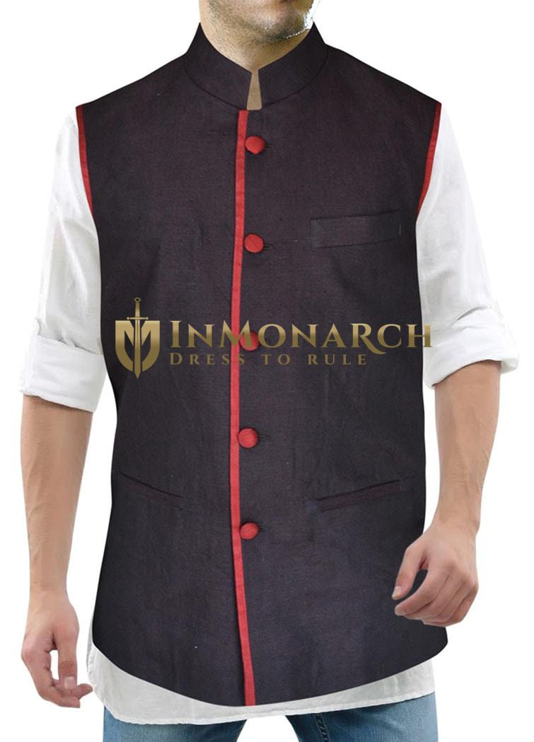 Mens Purple Wine Linen Nehru Vest Red Trimming