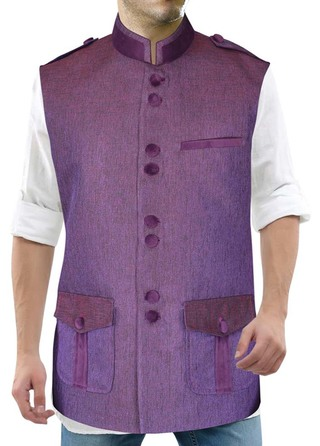 Mens Purple Nehru Vest Attractive safari style