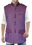 Mens Purple Jute Nehru Vest Safari Style