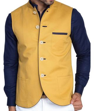 Mens Yellow Nehru Jacket Linen Nehru Waistcoat Wedding
