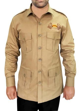 Safari with 4 pockets khaki cotton Bush Shirts