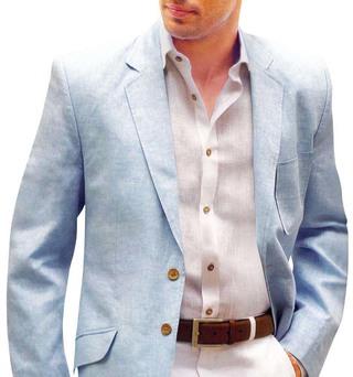 Mens Sky Blue Linen Blazer Two Button