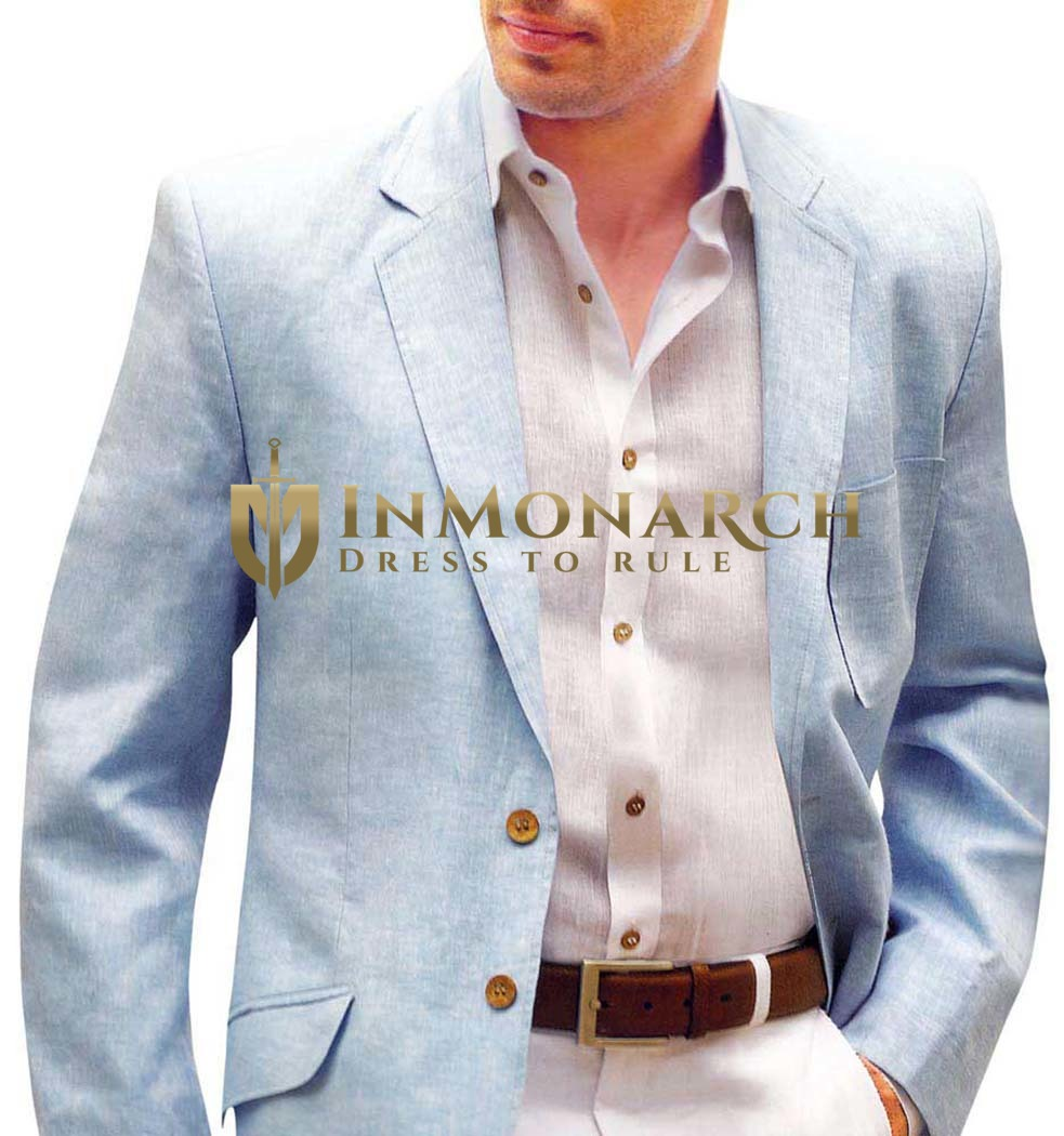 Mens Slim fit Casual Sky Blue Linen Blazer sport jacket coat Two Button
