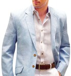 Sky-blue Mens linen suit jacket for smart summer events