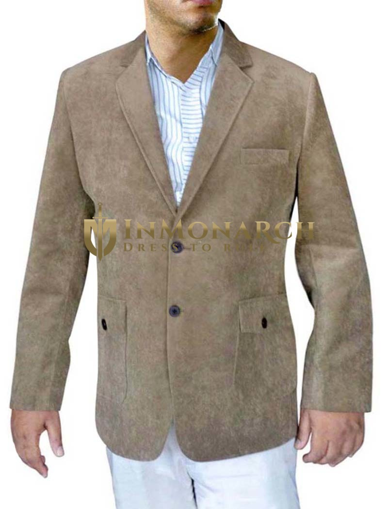 Mens Brown Velvet Coat Traditional Two Button