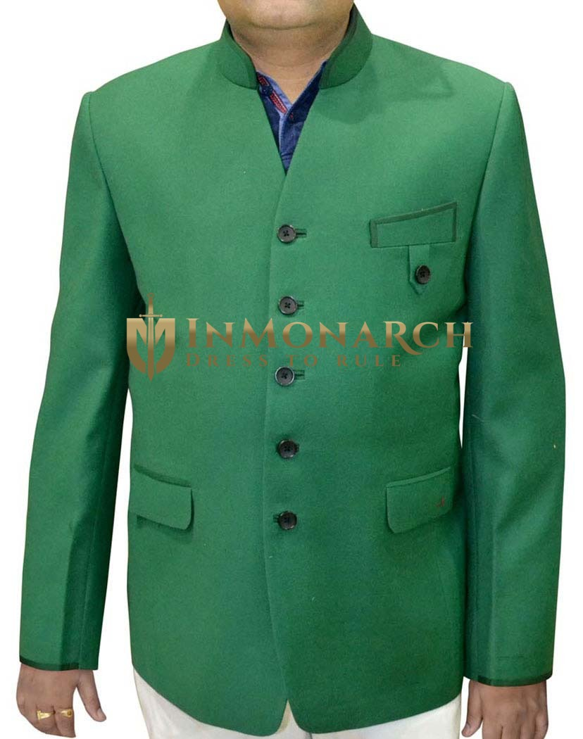 Mens Green Blazer Classic V Neck