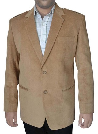 Mens Slim fit Casual Tan Corduroy Blazer sport jacket coat Two Button