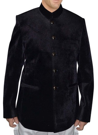 Mens Slim fit Casual Black Velvet Blazer sport jacket coat Traditional Nehru Collar