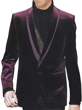 Mens Slim fit Casual Mulberry Velvet Blazer sport jacket coat Groomsmen