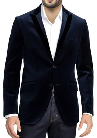 Mens Navy Blue Dinner Jacket Notch lapels Velvet