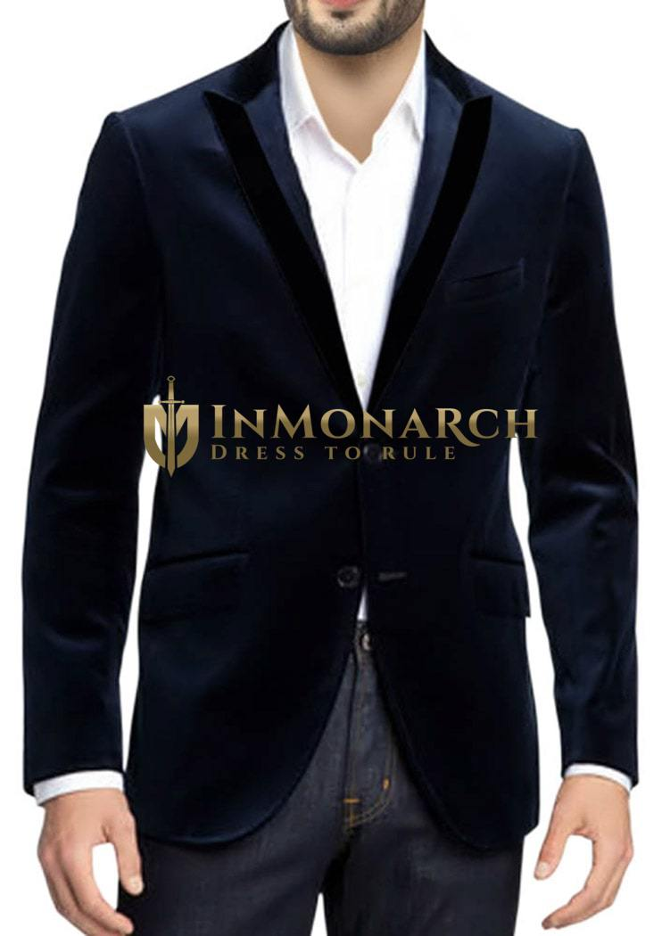 Mens Navy Blue Velvet Fashionable Suit Jacket with peak lapel