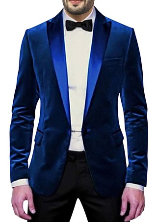 Mens Slim fit Casual Dark Blue Velvet Coat Gorgeous One Button
