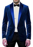 Mens Slim fit Casual Dark Blue Velvet Coat Jacket