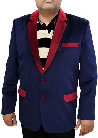 Mens Slim fit Casual Navy Blue Velvet Blazer sport jacket coat Indian Wedding