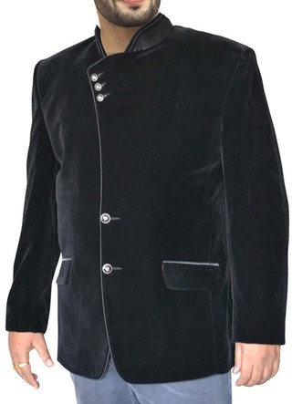 Mens Black Velvet Coat Fashionable Band collar