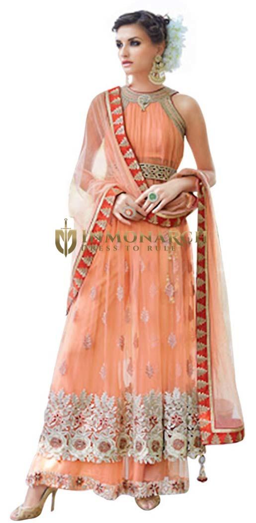 Beautiful Peach Net Embroidered Lehenga