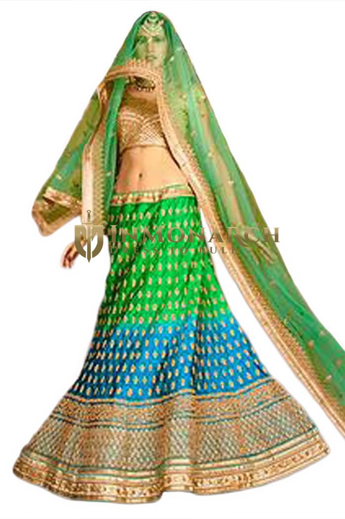 Simplistic Green And Turquoise Lehenga Choli