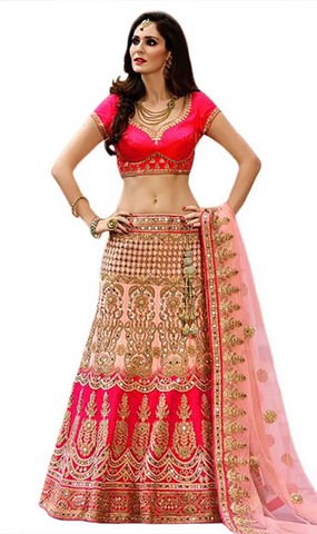 Heavy Zari Work Satin Bridal Lehenga Choli