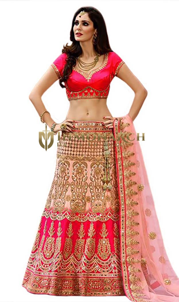 Heavy Zari Work Satin Bridal Lehenga Choli