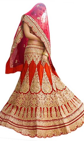Exotic Red Raw Silk Bridal Lehenga Choli