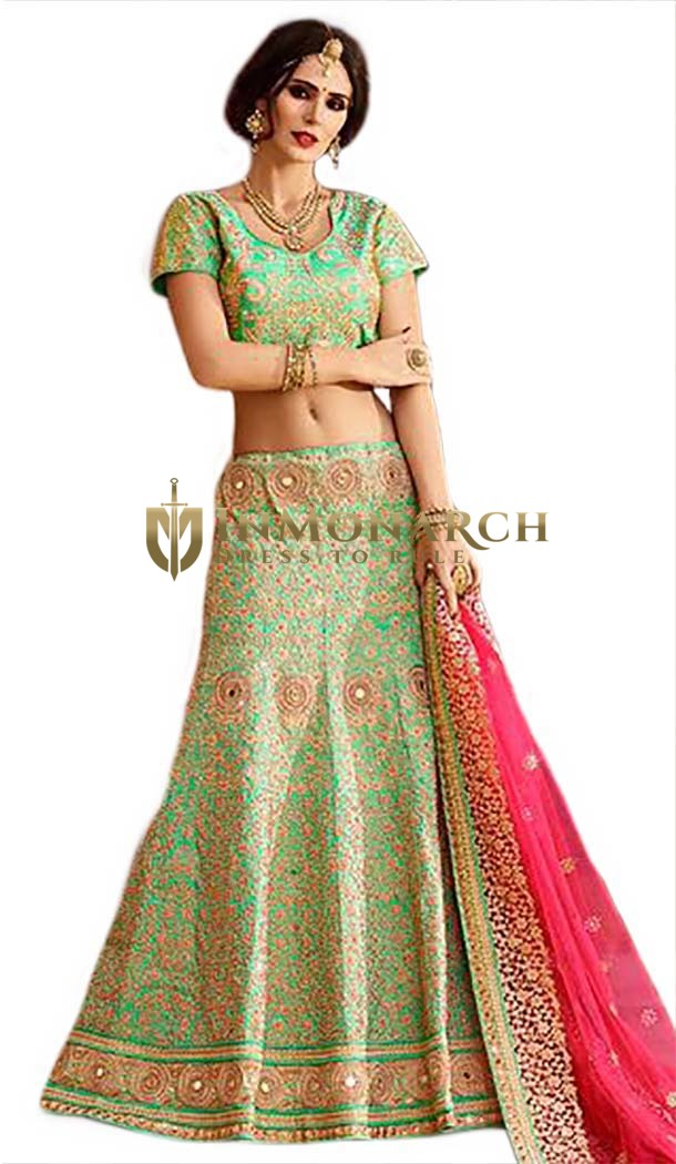 Luxurious Sea Green Raw Silk Lehenga Choli