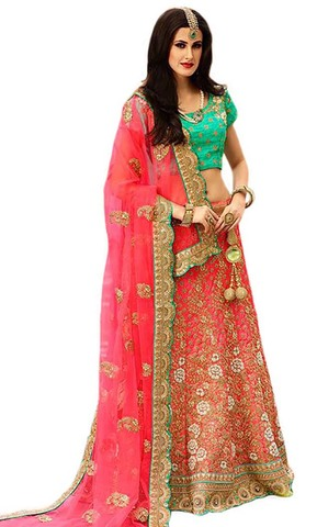 Embroidered Red Satin Lehenga Choli