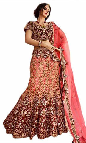 Party Wear Pink And Maroon Lehenga Choli