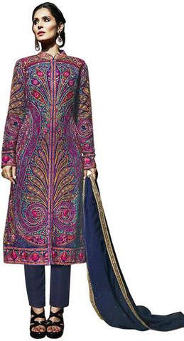 Georgette Magenta Designer Suit