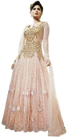 Partywear Peach Net Flower Anarkali Gown