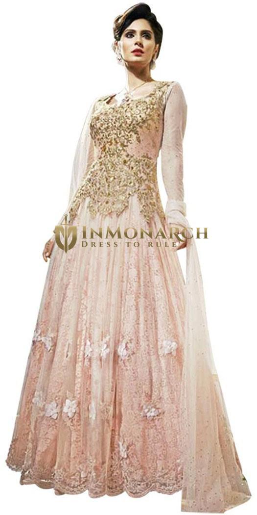 Partywear Peach Net Flower Anarkali Gown