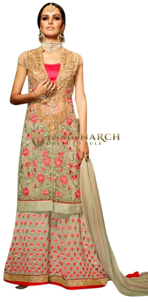 Beautiful Beige Palazzo Style Anarkali