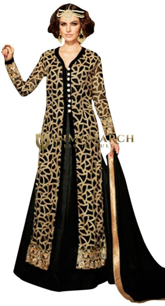 Traditional Black Embroidered Net Gowns Suit