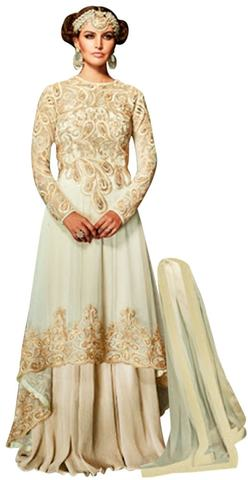 Wedding Beautiful Cream Net Anarkali Suit