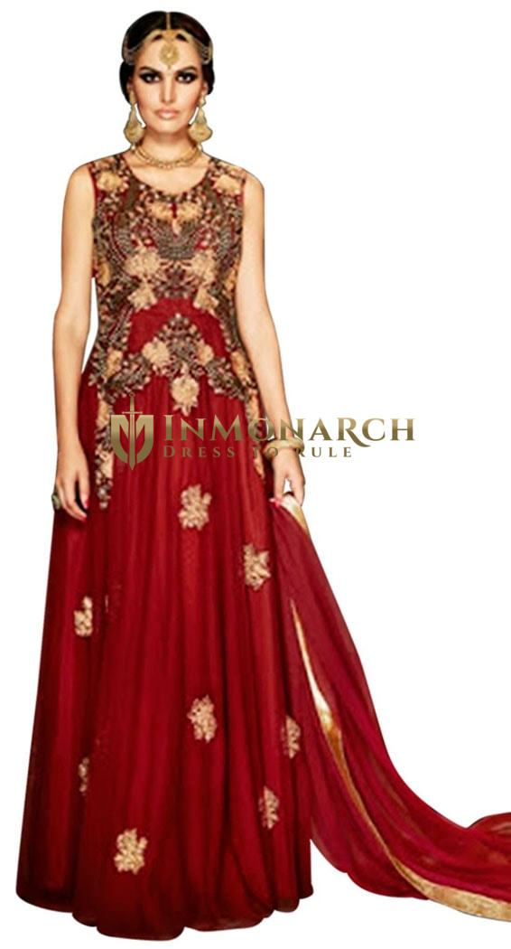 Party Wear Maroon Georgette Gowns Suit