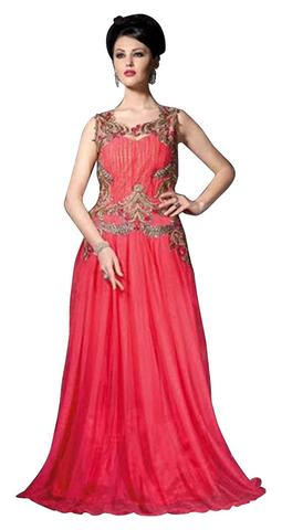 Traditional Crimson Net Gown Style Suits