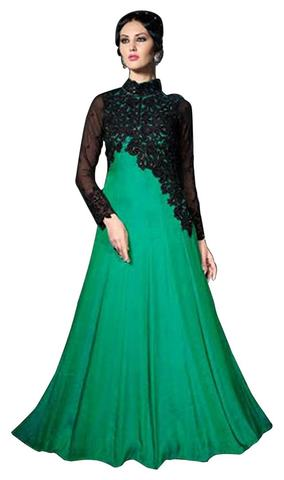 Appealing Green Satin Silk Anarkali Suit