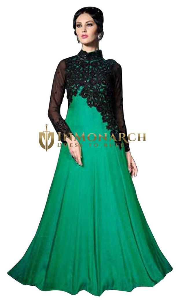 Appealing Green Satin Silk Anarkali Suit