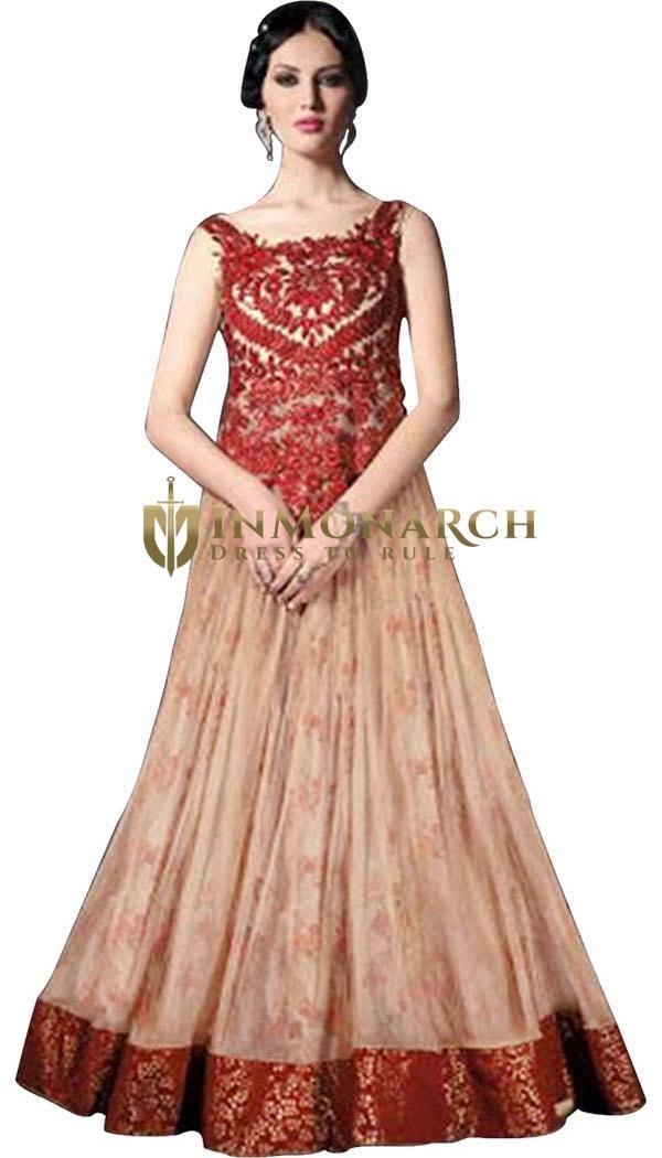 Trendy Gown Style Net Salwar Kameez