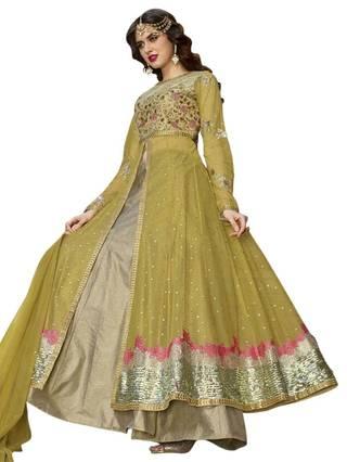Buy Green Shaded Designer Anarkali Suit