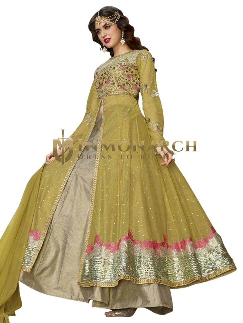 Buy Green Shaded Designer Anarkali Suit
