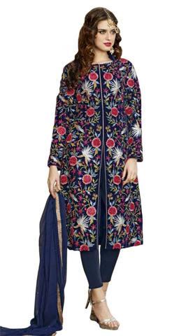 Blue Viscose Satin Embroidered Work Anarkali Suit