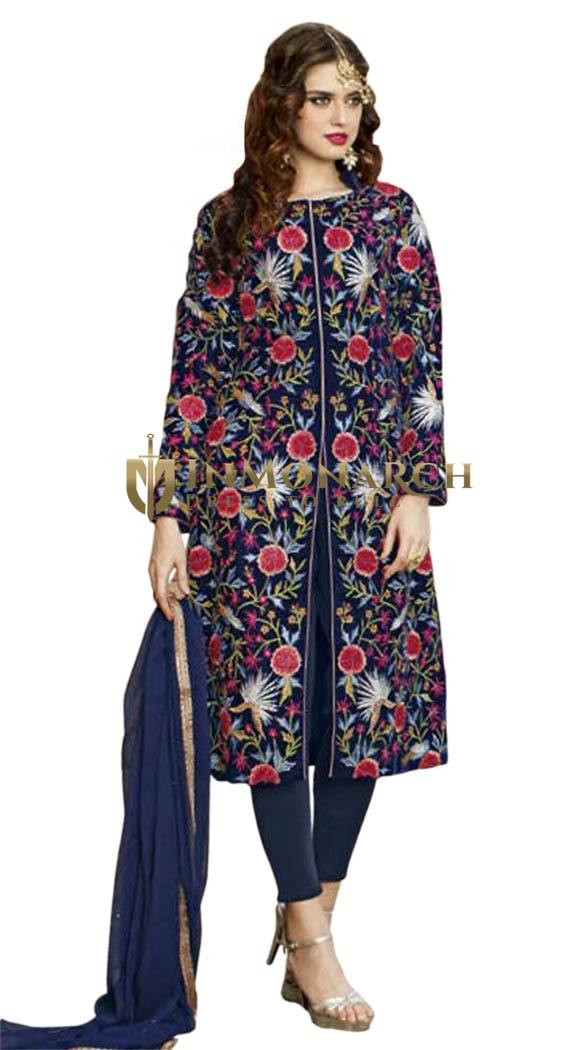 Blue Viscose Satin Embroidered Work Anarkali Suit