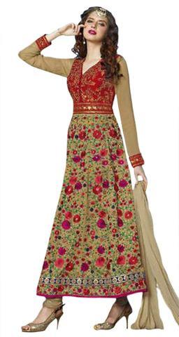 Designer Beige Indo Silk Anarkali Suit