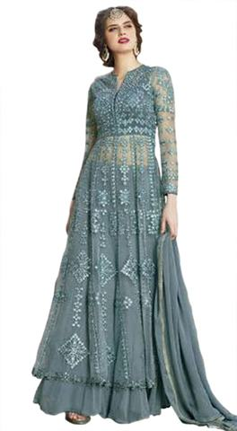 Embroidered Gray Net Anarkali Suit