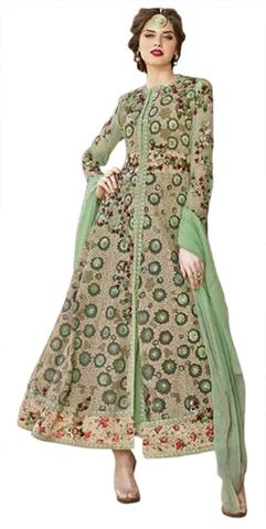 Beautiful Light Green Net Designer Anarkali Suit