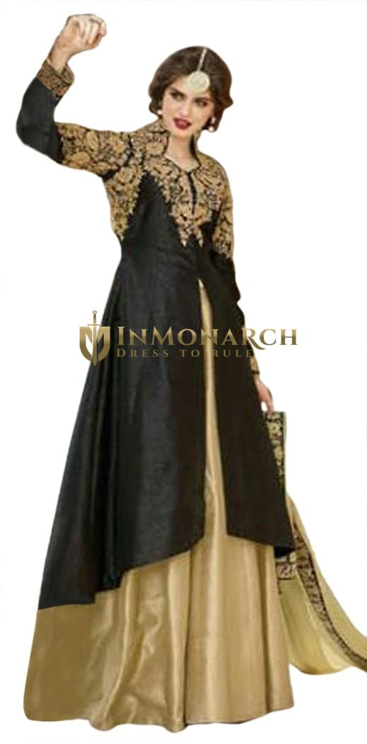 Ravishing Black & Beige Embroidered Suit