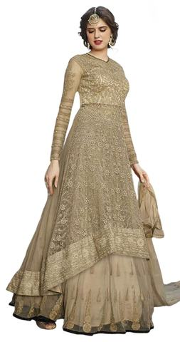 Gorgeous Beige Net Anarkali Suit