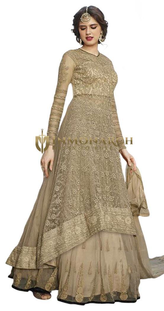 Gorgeous Beige Net Anarkali Suit